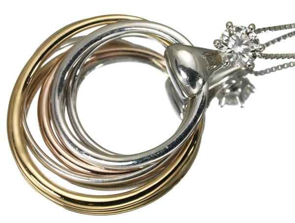 フォーエバーマーク ネックレス ダイヤ 0.33ct K18YG/WG/PG