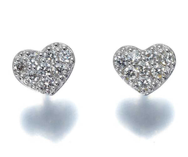 ポンテヴェキオ ピアス ダイヤモンド 0.07ct/0.07ct ハート K18WG