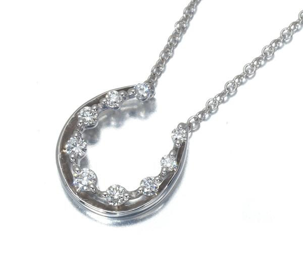 スタージュエリー ネックレス ダイヤモンド 0.08ct ホースシュー K18WG