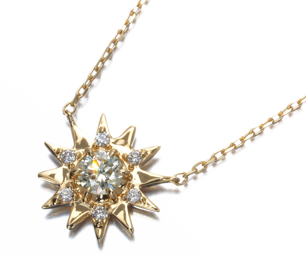 スタージュエリー ネックレス ダイヤモンド 0.10ct/0.02ct サンバースト K18YG