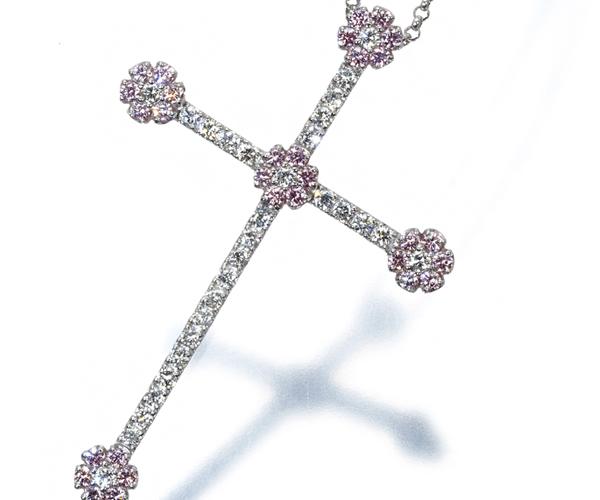 ポンテヴェキオ ネックレス ピンク&クリアダイヤモンド 0.37ct/0.41ct クロス K18WG
