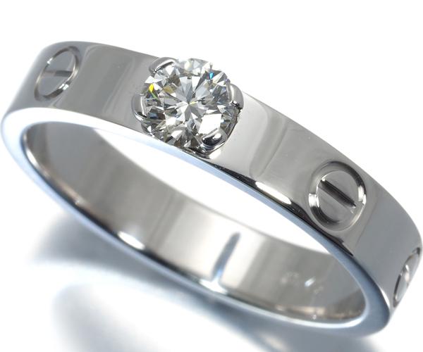 カルティエ リング ダイヤモンド 0.25ct F VVS1 VG ラブ ソリテール 52号 K18WG