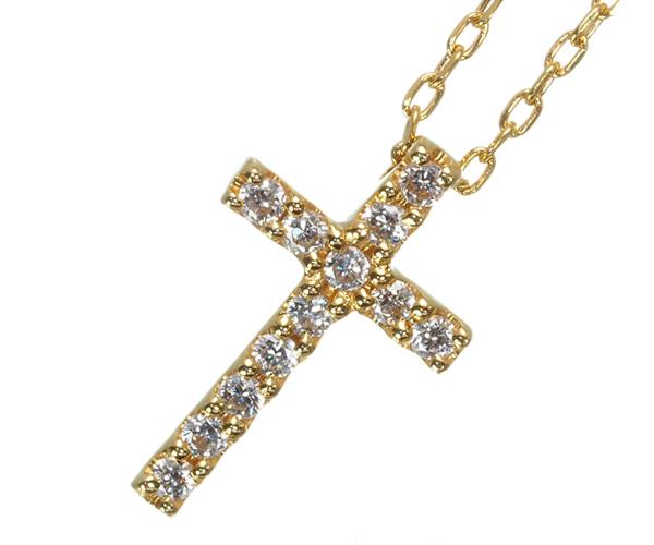 スタージュエリー ネックレス ダイヤモンド クロス K18YG