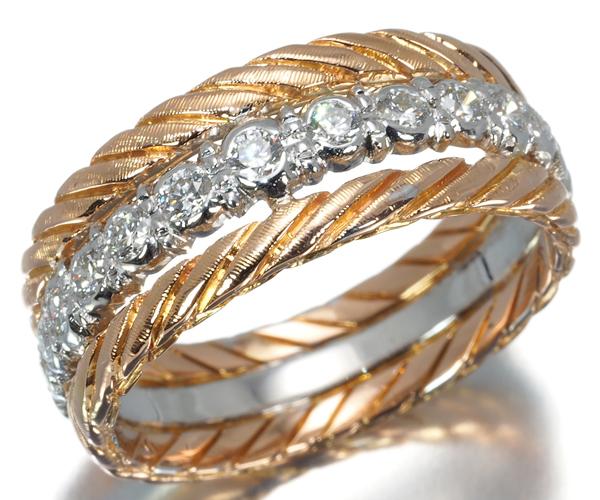 ブチェラッティ リング ダイヤモンド ツイスト 11.5号  K18WG/PG