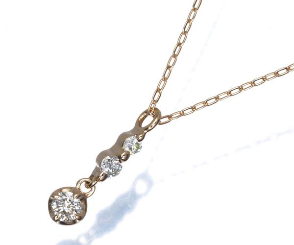 4℃ ネックレス ダイヤモンド 3P K18PG