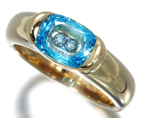 スタージュエリー リング ブルートパーズ ダイヤモンド 11号K18YG