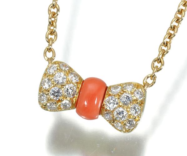 ヴァンクリーフ&アーペル ネックレス 珊瑚 ダイヤモンド ヌーパピヨン リボン K18YG