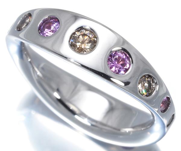 カシケイ リング ダイヤモンド 0.50ct ピンクサファイア 0.50ct ファイブリングス 16号 K18WG