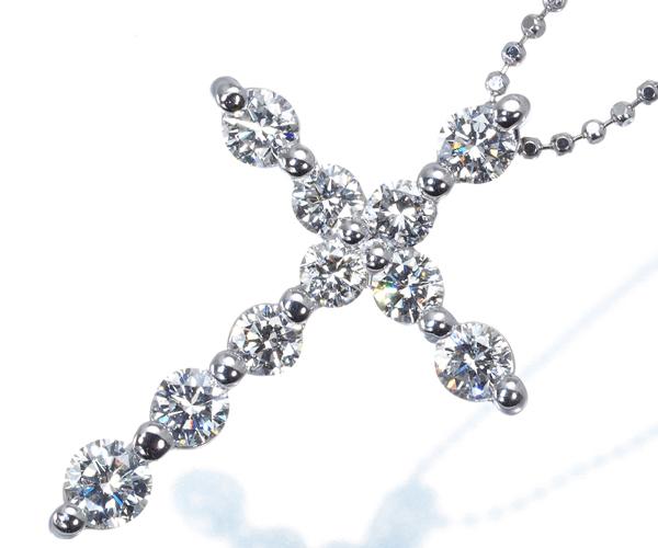 ポンテヴェキオ ネックレス ダイヤモンド 1.03ct クロス K18WG