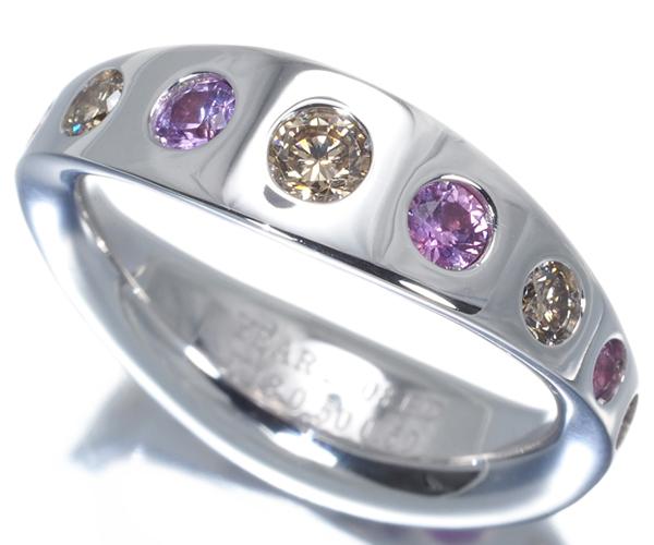 カシケイ リング ブラウンダイヤモンド 0.50ct ピンクサファイア 0.50ct 12号 K18WG