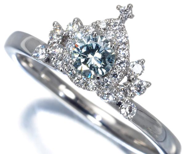 4℃ リング ダイヤモンド ブルー&クリアダイヤモンド 0.216ct VS2 ディズニー Pt950