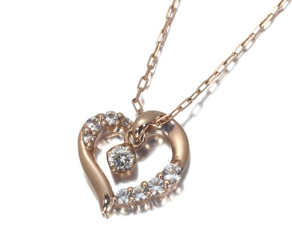 4℃ ヨンドシー ネックレス ダイヤモンド ホワイトサファイア ハート K10PG
