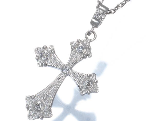 ローリーロドキン ネックレス ダイヤモンド クロス Pt950/Pt850