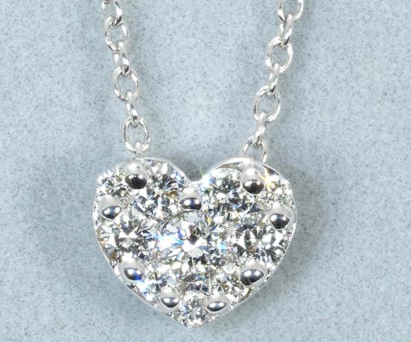 ポンテヴェキオ ネックレス ダイヤモンド 0.25ct パヴェ ハート K18WG