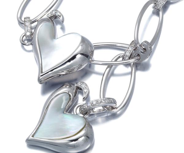 シャンテクレール ネックレス シェル ダイヤモンド おんどり K18WG
