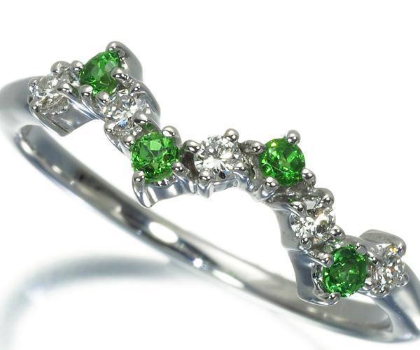 TASAKI タサキ リング ダイヤモンド 0.09ct グリーンガーネット K18WG