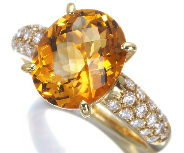 TASAKI タサキ リング シトリン 3.38ct ダイヤモンド 0.36ct  K18YG