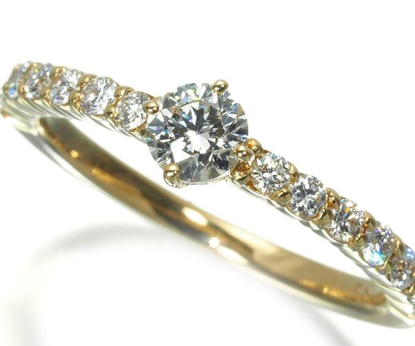 4℃ ヨンドシー リング ダイヤモンド 0.217ct ソリティア ハーフエタニティ 7号 K18YG