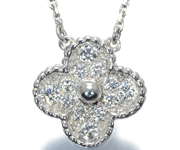 ヴァンクリーフ&アーペル ネックレス ダイヤモンド ヴィンテージアルハンブラ パヴェ K18WG