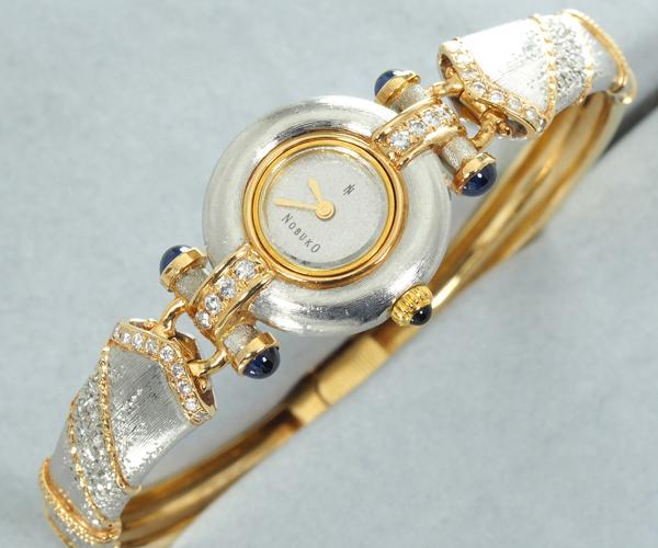 石川暢子 腕時計 ダイヤモンド サファイア K18YG/WG