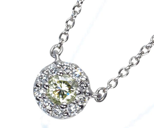 スタージュエリー ネックレス イエロー&クリアダイヤモンド 0.10ct/0.08ct Pt950