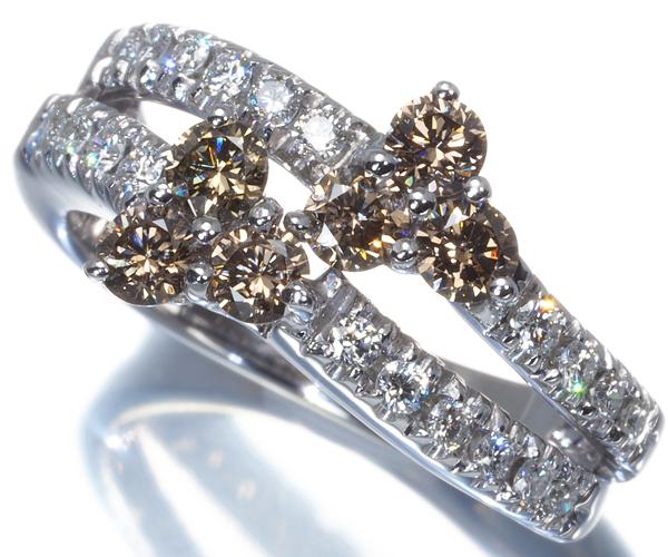 ダミアーニ リング ブラウン&クリアダイヤモンド 9号 K18WG
