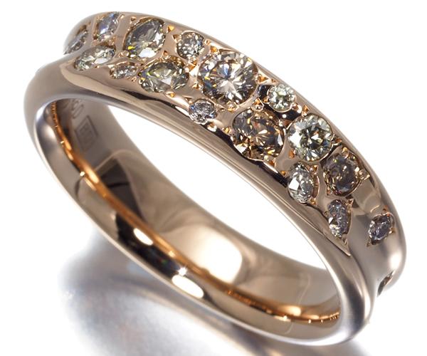 カシケイ リング ダイヤモンド 0.60ct メランジェ 12号 K18PG