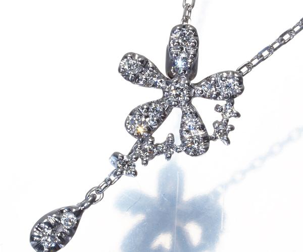 ヴァンドーム ネックレス ダイヤモンド 0.10ct フラワー K18WG