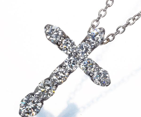 ポンテヴェキオ ネックレス ダイヤモンド 0.50ct クロス K18WG