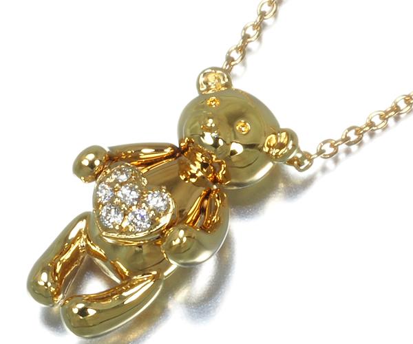 ポンテヴェキオ ネックレス ダイヤモンド クマ ハート K18YG