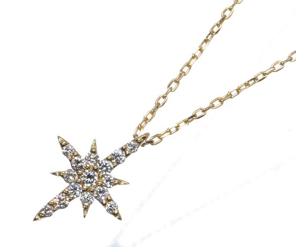 スタージュエリー ネックレス ダイヤモンド 0.06ct クロッシングスター K18YG