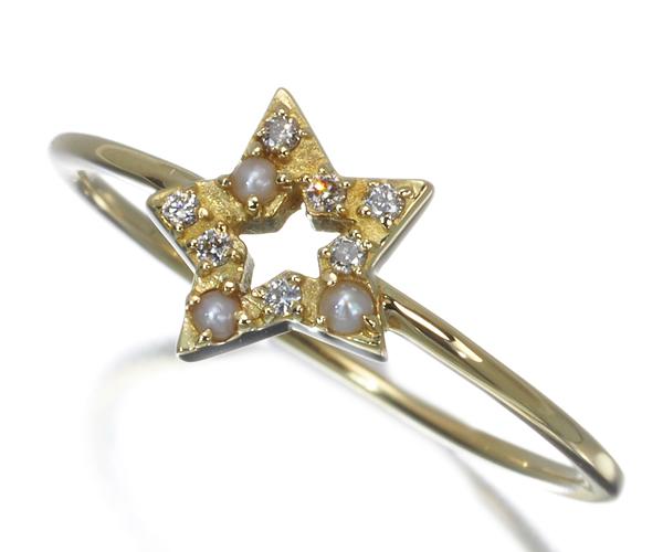 アーカー リング ダイヤモンド シードパール ステラベイビー 9号 K18YG