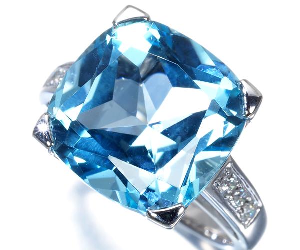 モーブッサン リング トパーズ ダイヤモンド 10.5号 K18WG