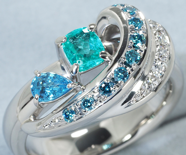 水野薫子 リング パライバトルマリン 0.46ct ブルー&クリアダイヤモンド 0.16ct 12号 Pt900
