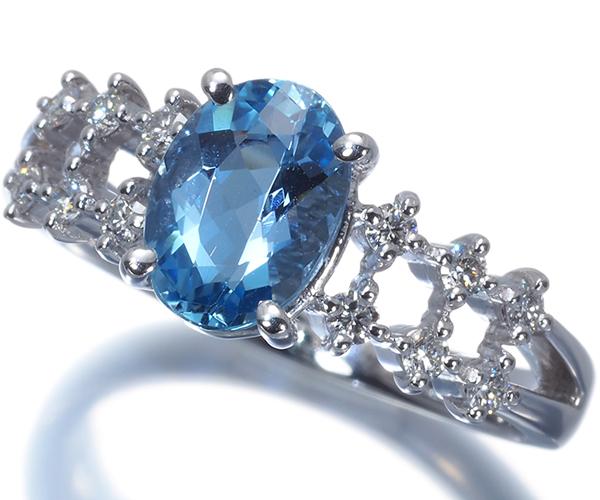 TASAKI タサキ リング アクアマリン 0.98ct ダイヤモンド 0.20ct Pt900