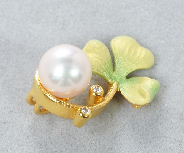 マリエラ ペンダントトップ アコヤ真珠 パール 7.0mm珠 ダイヤモンド クローバー K18YG