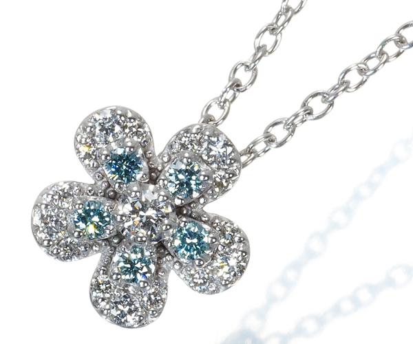 ポンテヴェキオ ネックレス ブルー&クリアダイヤモンド 0.17ct フラワー K18WG