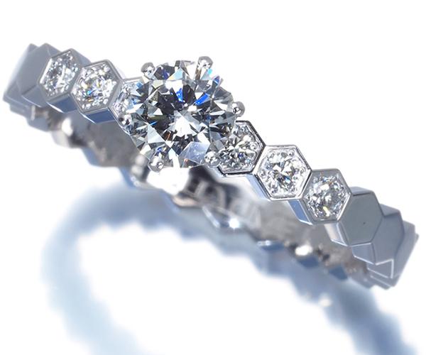 ショーメ リング ダイヤモンド 0.3ct程 ビーマイラブ ハニカム 49号 K18WG