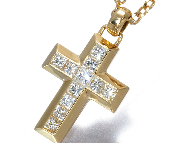 ヴァンドーム ネックレス ダイヤモンド 0.55ct ミステリーセッティング クロス K18YG