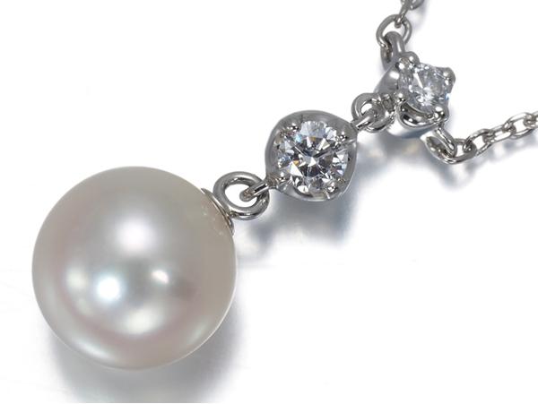 4℃ ヨンドシー ネックレス ダイヤ ダイヤモンド アコヤ真珠 パール 7.5mm珠 Pt850/プラチナ
