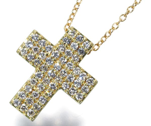 ポンテヴェキオ ネックレス ダイヤモンド 0.51ct クロス パヴェ K18YG