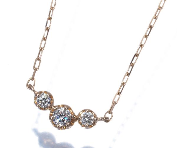 4℃ ヨンドシー ネックレス 3P ダイヤモンド シンプルデザイン K18PG