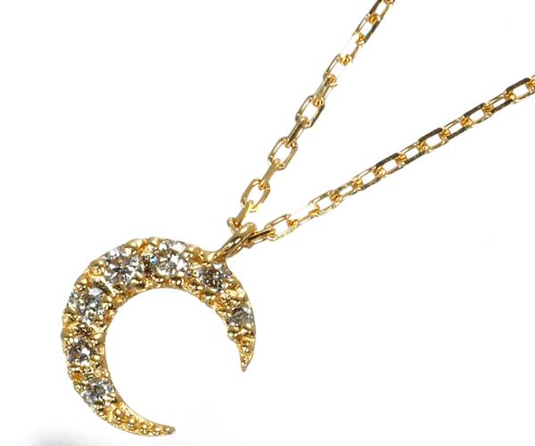アガット ネックレス ダイヤモンド 0.05ct ムーン K18YG