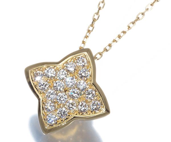 ヴァンドーム ネックレス ダイヤモンド 0.18ct パヴェ スター K18YG