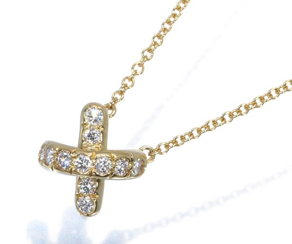 ティファニー ネックレス ダイヤモンド クロスステッチ K18Y