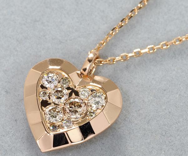 カシケイ ネックレス ダイヤモンド 0.35ct ハート K18PG