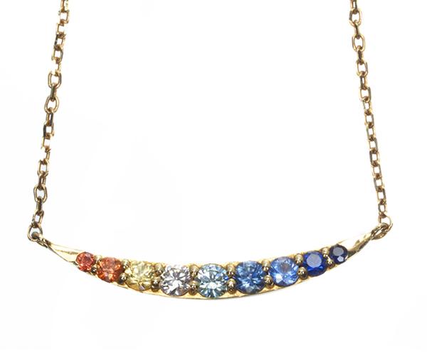 ポンテヴェキオ ネックレス ブルー&クリアダイヤモンド サファイア 0.18ct マルチカラー ブランコ K18YG