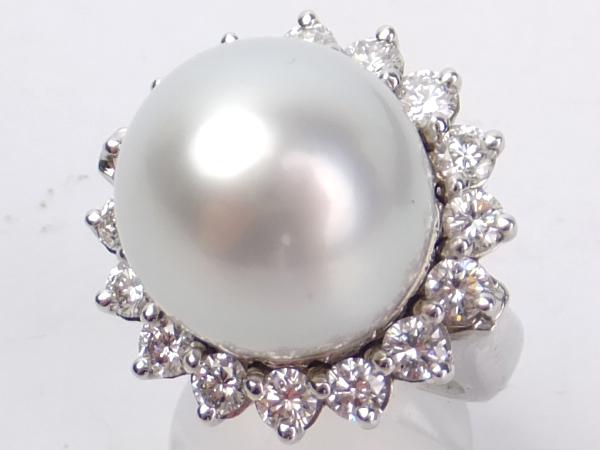 南洋真珠 ダイヤモンド PT リング