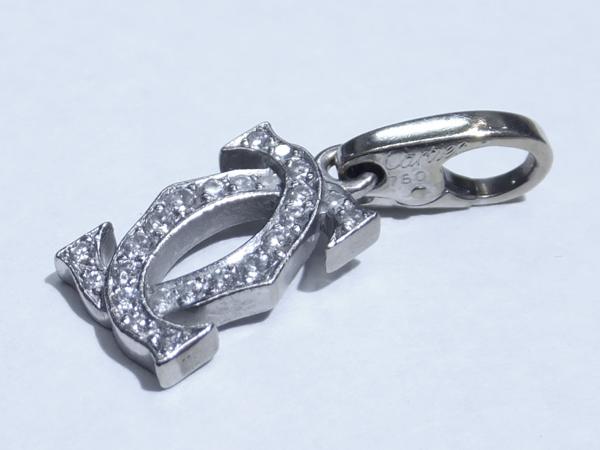 Cartier 18金ホワイトゴールド 2C  ダイヤモンド チャーム トップ