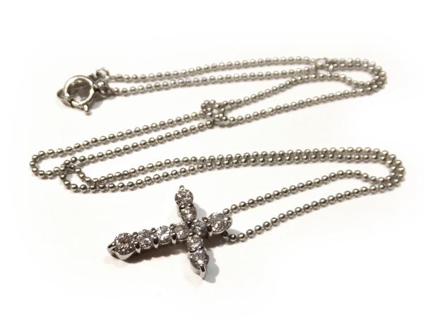 プラチナ900/850  ダイヤモンド クロス ネックレス